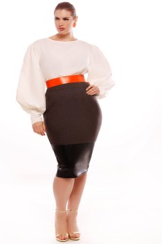 JIBRI-Plus-Size-High-Waist-Pencil-Skirt-w-Faux-Leather-Detail