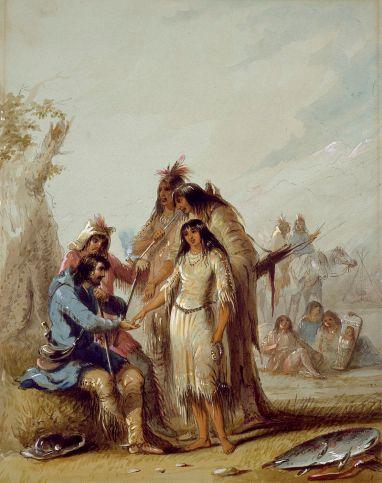 A noiva do caçador mostra um caçador , François, pagando US $ 600 em produtos comerciais para uma mulher indiana para ser sua esposa, ca. 1837, por Alfred Jacob Miller .