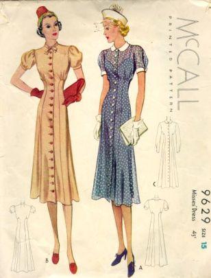 vestido chemise, revista de 1938