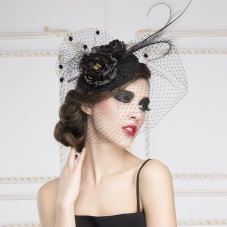 Luxury-European-White-Black-Birdcage-Bridal-Flower-Feathers-Fascinator-Hair-Hoop-Bride-Wedding-Party-Hats-Gauze