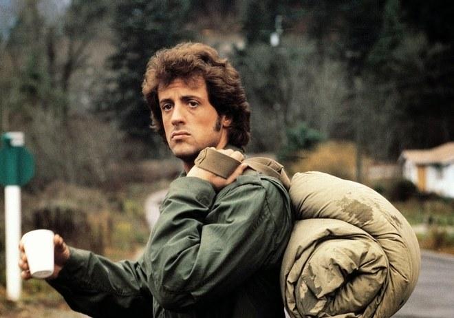 Sylvester Stallone em Rambo, 1982.