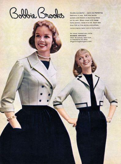 Anuncio de uma loja chamada Bobbie Brooks que vendia roupas de alta costura. O anuncio é de 1957.