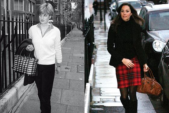 Revistas comparavam a maneira de se vestir das então plebéias Diane e Kate.