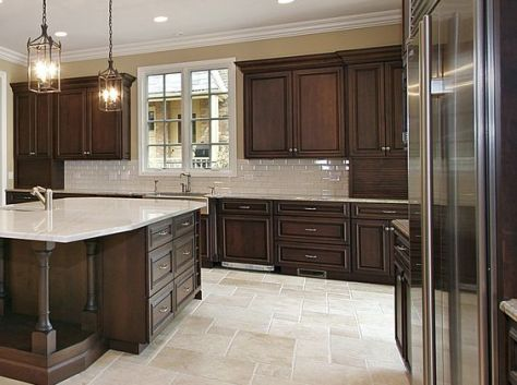Large kitchen with island and wood cabinetry