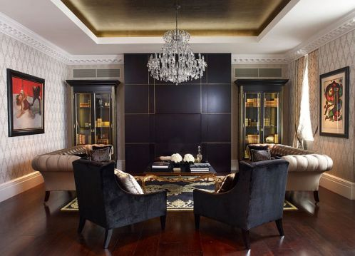 Black-and-gold-coupled-with-beige-in-the-living-room